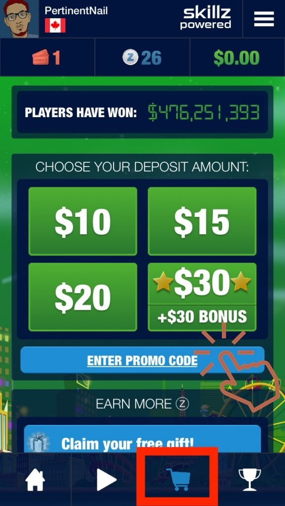 Store tab Solitaire Tour and Enter Promo Code button